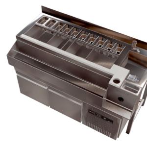 Estacion de Cocteleria individual refrigerada en acero inoxidable 1,5mm