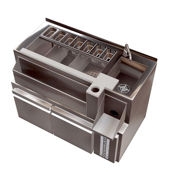 estacion cocteleria individual refrigerada nevera integrada 1 2m barstation